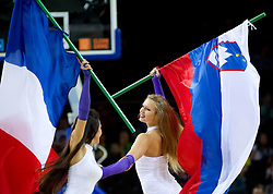 Cheerleaders with French and Slovenian flag during basketball game between National basketball teams of Slovenia and Lithuania at of FIBA Europe Eurobasket Lithuania 2011, on September 15, 2011, in Arena Zalgirio, Kaunas, Lithuania. Lithuania defeated Slovenia 80-77.  (Photo by Vid Ponikvar / Sportida)