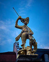 Statue of Saint George Slaying the Dragon outside the St. George's Church in Eisenach. Image taken with a Leica CL camera and 18 mm f/2.8 lens (ISO 100, 18 mm, f/4, 1/80 sec).