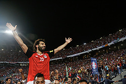 October 8, 2017 - Alexandria, Egypt - Egypt's Mohamed Salah celebrating World Cup access and victory over Congo during the 2018 World Cup group E qualifying soccer match at Borg El Arab Stadium in Alexandria, Egypt, Sunday, Oct. 8, 2017. (Credit Image: © Islam Safwat/NurPhoto via ZUMA Press)