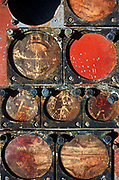 The rusting remains of a NASA Mercury Project-era spacecraft instrument panel awaits bids during a NASA space junk auction on Merrit Island, Florida - part of a sale of space paraphernalia belonging to NASA enginer Charlie Bell, on 10th March 2003, on Merrit Island, Florida, USA.