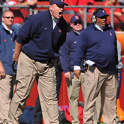 Oct 13, 2012: Syracuse Orange head coach Doug Marrone yells at officials during NCAA Big East college football action between the Rutgers Scarlet Knights and Syracuse Orange at High Point Solutions Stadium in Piscataway, N.J.
