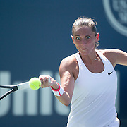 Roberta Vinci, Italy, is action against Eugenie Bouchard, Canada, during her 6-1, 6-0 win in the first round of the Connecticut Open at the Connecticut Tennis Center at Yale, New Haven, Connecticut, USA. 24th August 2015. Photo Tim Clayton