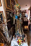A shrine to the boney lady and offerings inside the La Casa De La Santa Muerte or House of the Saint of the Dead November 1, 2017 in Santa Ana Chapitiro, Michoacan, Mexico.