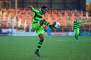 Forest Green Rovers Dale Bennett(6) controls the ball during the Vanarama National League match between Wrexham FC and Forest Green Rovers at the Racecourse Ground, Wrexham, United Kingdom on 26 November 2016. Photo by Shane Healey.