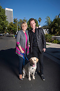 November 5, 2013. Los Angeles, California. Actress and singer Lorna Luft pictured with her husband Colin Freeman and their dog Harlen in Los Angeles. Lorna is the daughter of singer and actress Judy Garland and Sid Luft, and the sister of singer and actress Liza Minnelli.<br />  Photo Copyright John Chapple / www.JohnChapple.com