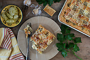 Food photography by Rodney Bedsole of artichoke dip slab pie