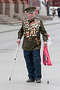 Moscow, Russia, 08/05/2006..Russian veterans gather to lay flowers at the Tomb Of The Unknown Soldier on the eve of the 61st Victory Day celebrations, when Russian celebrates the end of the Second World War, generally referred to in Russia as the Great Patriotic War...