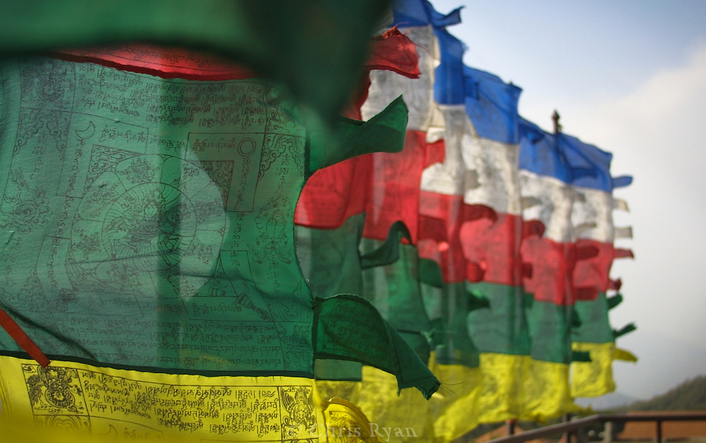 Prayer flags in the wind, Kathmandu Valley, foothills of the Himalayas, Nepal