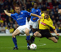 Photo. Chris Ratcliffe. <br />Watford v Ipswich. The League Championship. 23/10/2004<br />Heidur Helguson of Watford clashes with Richard Naylor of Ipswich