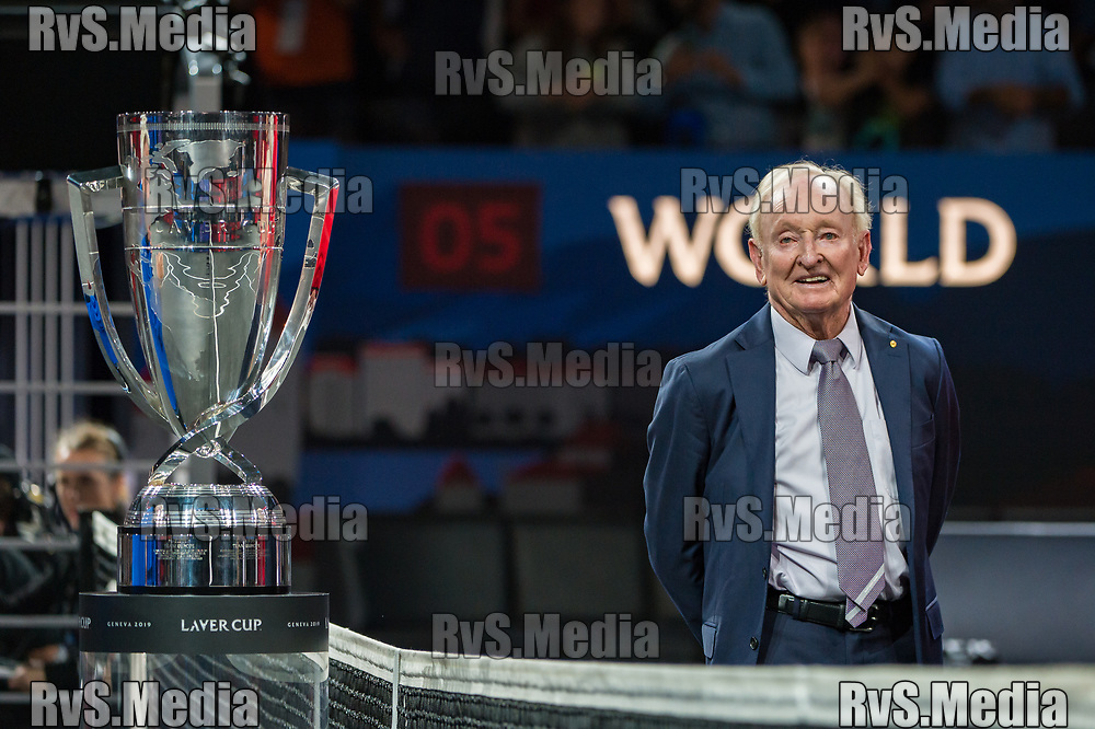 GENEVA, SWITZERLAND - SEPTEMBER 22: Rod Laver looks on during Day 3 of the Laver Cup 2019 at Palexpo on September 20, 2019 in Geneva, Switzerland. The Laver Cup will see six players from the rest of the World competing against their counterparts from Europe. Team World is captained by John McEnroe and Team Europe is captained by Bjorn Borg. The tournament runs from September 20-22. (Photo by Robert Hradil/RvS.Media)