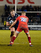 Sale Sharks second-row Jean-Luc Du Preez  drives at Leicester Tigers Johnny McPhillips during a Gallagher Premiership Rugby Union match Sale Sharks -V- Leicester Tigers, won by Sale 36-3 Friday, Feb. 21, 2020, in Eccles, United Kingdom. (Steve Flynn/Image of Sport via AP)