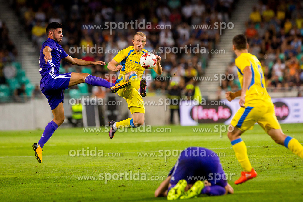 Zeni Husmani of NK Domzale and Morgan Sanson of Olympic Marseille during football match between NK Domzale and Olympique de Marseille in First game of UEFA Europa League playoff round, on August 17, 2017 in SRC Stozice, Ljubljana, Slovenia. Photo by Ziga Zupan / Sportida