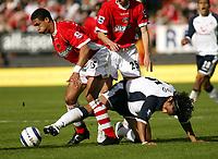 Photo: Chris Ratcliffe.<br />Charlton Athletic v Tottenham Hotspur. The Barclays Premiership. 01/10/2005.<br />Mido and Tottenham sneak the ball away from Charlton and Talal El Karkouri