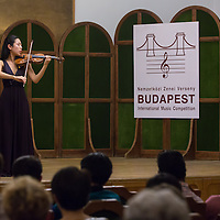 Jaha Lee of France plays her violin during the Jozsef Szigeti International Violin Contest held every five year in Budapest, Hungary on September 06, 2012. ATTILA VOLGYI
