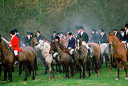 Members of the Cheshire Hunt at a traditional meet in wintertime, England, UK