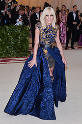 Donatella Versace walking the red carpet at The Metropolitan Museum of Art Costume Institute Benefit celebrating the opening of Heavenly Bodies : Fashion and the Catholic Imagination held at The Metropolitan Museum of Art  in New York, NY, on May 7, 2018. (Photo by Anthony Behar/Sipa USA)
