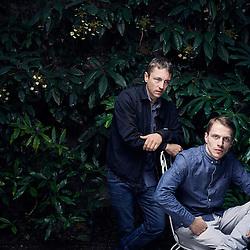 Paris, France. August 16, 2016. Actors Kevin Azais et Vincent Rottiers posing in the private garden of the Hotel Particulier (located in Montmartre). Photo: Antoine Doyen