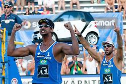 Marcion Araujo and Ricardo Costa Santos of Brazil celebrating victory at A1 Beach Volleyball Grand Slam tournament of Swatch FIVB World Tour 2010, on July 31, 2010 in Klagenfurt, Austria. (Photo by Matic Klansek Velej / Sportida)