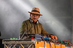 Craig Charles plays a DJ set on the main stage. Party at the Palace 2019.