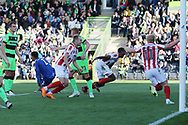 Tyrone Bennett scores after the penalty save during the EFL Sky Bet League 2 match between Forest Green Rovers and Cheltenham Town at the New Lawn, Forest Green, United Kingdom on 20 October 2018.