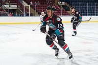 KELOWNA, CANADA - SEPTEMBER 5: Erik Gardiner #12 of the Kelowna Rockets skates against the Kamloops Blazers on September 5, 2017 at Prospera Place in Kelowna, British Columbia, Canada.  (Photo by Marissa Baecker/Shoot the Breeze)  *** Local Caption ***