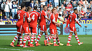 Southampton players celebrate Rickie Lambert's (Middle) late second half goal.<br /> Barclays Premier league match, Swansea city v Southampton at the Liberty stadium in Swansea, South Wales on Saturday 3rd May 2014.<br /> pic by Phil Rees, Andrew Orchard sports photography.