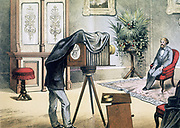 Portrait photographer's studio with subject being photographed.  Chromolithograph from Theodore Eckhardt 'Physics in Pictures', London, 1882.