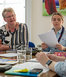 Pictured: Girlguiding Scotland Chief Executive officer Denise Spence, and Girl guide, Katie Horsburgh<br />
