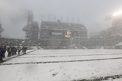 A General View of Lincoln Financial Field in the snow during a moment of silence for Nelson Mandela before the NFL game between the Detroit Lions and the Philadelphia Eagles on Sunday, December 8th 2013 in Philadelphia. (Photo by Brian Garfinkel)