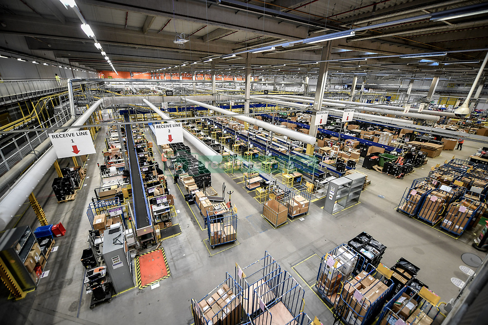 One of the huge packing areas at Amazon's fulfillment centre in Swansea, in the run up to Black Friday.