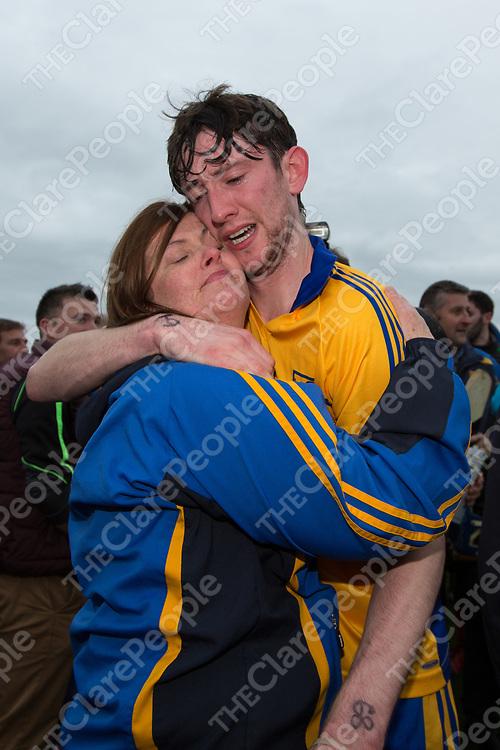 An emotional Alan Mulready with Liz Murphy mother of  deceased sixmilebridge club colleague David Murphy