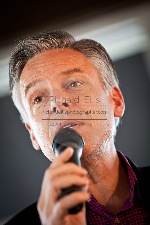 Republican presidential candidate Gov. Jon Huntsman of Utah dresses supporters at a breakfast event at the Honeycomb Cafe on Daniel Island January 12, 2012 in Charleston, South Carolina.