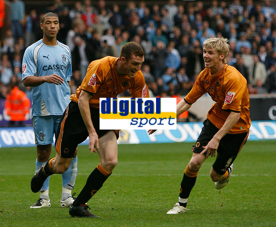 Photo: Steve Bond.<br />Wolverhampton Wanderers v Coventry City. Coca Cola Championship. 06/10/2007. Neill Collins (L) celebrates with Andy Keogh (R)