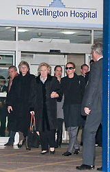 © London News Pictures. File pic dated 02/03/2012. London, UK. Queen Beatrix of the Netherlands and Princess Mabel of Orange-Nassau (left) leaving The Wellington Hospital in London hand in hand after visiting Prince Friso at His Hospital bed. Prince Johan Friso has today (12/08/2013)  died after nearly a year and a half in a coma following a skiing accident Photo credit : Ben Cawthra/LNP