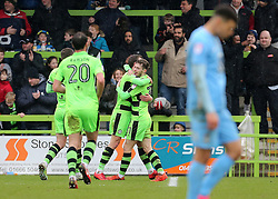 Forest Green Rovers Alex Bray celebrates scoring his sides first goal of the game on his debut