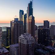 NEMA Chicago construction aerial view above Dearborn Park, March 2019.