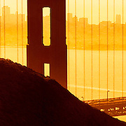"""Detail (35"""" sq.) of a 30 ft. panorama of the famed Golden Gate bridge across the mouth of San Francisco Bay( 3:1 proportion) photographed in multi-image sequence to produce extremely large file sizes for wall murals up to 30 ft x 10 ft."""