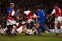 Photo. Javier Garcia<br />08/03/2003 Arsenal v Chelsea, FA Cup Quarter Final, Highbury<br />Frank Lampard squeezes in Chelsea's late equaliser
