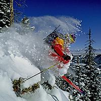SKIING, Montana, Sinuhe (MR) skiing The Ridge at Bridger Bowl, MT.