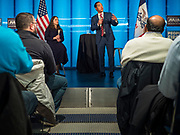 "10 DECEMBER 2019 - DES MOINES, IOWA: JULIÁN CASTRO, right, former Secretary of Housing and Urban Development in the Obama Administration, and LAURA BELIN, left, publisher of the Bleeding Heartland, a blog about Iowa Democratic politics, talk about Castro's presidential campaign and Iowa's role as ""First in the Nation"" during a town hall meeting at Drake University in Des Moines. In recent weeks, Castro has been critical of the outsize role Iowa and New Hampshire play in the presidential selection process. His town hall tonight was to specifically discuss Iowa's role in the presidential selection process. Castro is visiting Iowa to support his bid to be the Democratic nominee for the US Presidency. Iowa traditionally hosts the the first selection event of the presidential election cycle. The Iowa Caucuses will be on Feb. 3, 2020. In recent weeks, Castro has been critical of the outsize role Iowa and New Hampshire plays in the presidential selection process.          PHOTO BY JACK KURTZ"