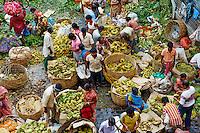 Inde, Bengale Occidental, Calcutta (Kolkata), le marche aux bananes // India, West Bengal, Kolkata, Calcutta, Mullik Ghat banana market