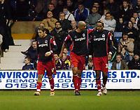 Photo: Kevin Poolman.<br />Luton Town v Queens Park Rangers. Coca Cola Championship. 11/11/2006. QPR players Lee Cook, Zeshan Rehman and Dexter Blackstock celebrate the third goal.