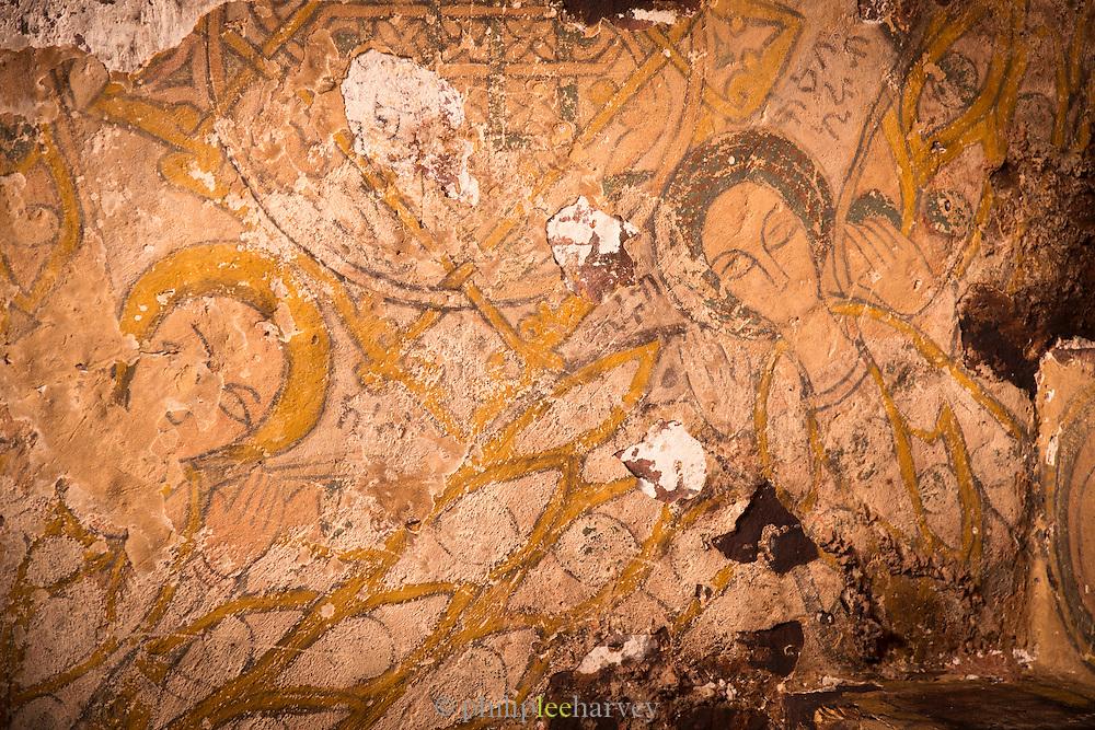 15th Century paintings inside Wukro Cherkos, a cruciform rock hewn church near the town of Wukro. Ethiopia, Horn of Africa
