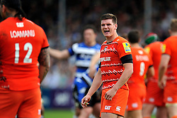 Freddie Burns of Leicester Tigers - Photo mandatory by-line: Patrick Khachfe/JMP - Mobile: 07966 386802 23/05/2015 - SPORT - RUGBY UNION - Bath - The Recreation Ground - Bath Rugby v Leicester Tigers - Aviva Premiership Semi-Final