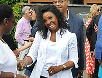 Tennis - 2019 Wimbledon Championships - Week Two, Tuesday (Day Eight)<br /> <br /> Women's Singles, Quarter-Final: Alison Riske (USA) vs. Serena Williams (USA)<br /> <br /> Soul singer, Gladys Knight  after watching the Williams match, on Centre Court.<br /> <br /> COLORSPORT/ANDREW COWIE