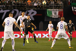March 22, 2019 - Pablo Hernandez of Chile (16) and Carlos Rodriguez (8) of Mexico look on after a headbutt during Mexico's 3-1 victory over Chile. (Credit Image: © Rishi Deka/ZUMA Wire)