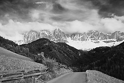 Val di Funne in Black and White, Dolomite Mountains, South Tyrol, Italy