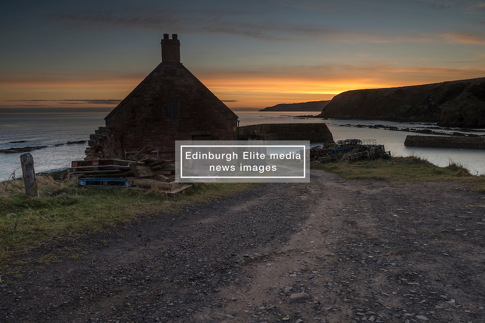 Cove Harbour on the Berwickshire coast at sunrise on 17th February 2017
