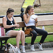 UK Weather: People eating at Italian garden in Hype park as heatwave continues in London, UK. July 26 2018.