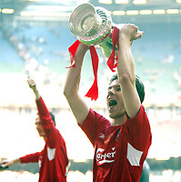 Photo: Chris Ratcliffe.<br />Liverpool v West Ham United. The FA Cup Final. 13/05/2006.<br />Xabi Alonso of Liverpool holds the FA Cup.